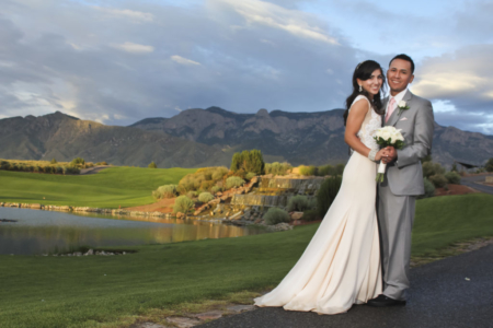 Sun shining on wedding couple at Sandia Casino